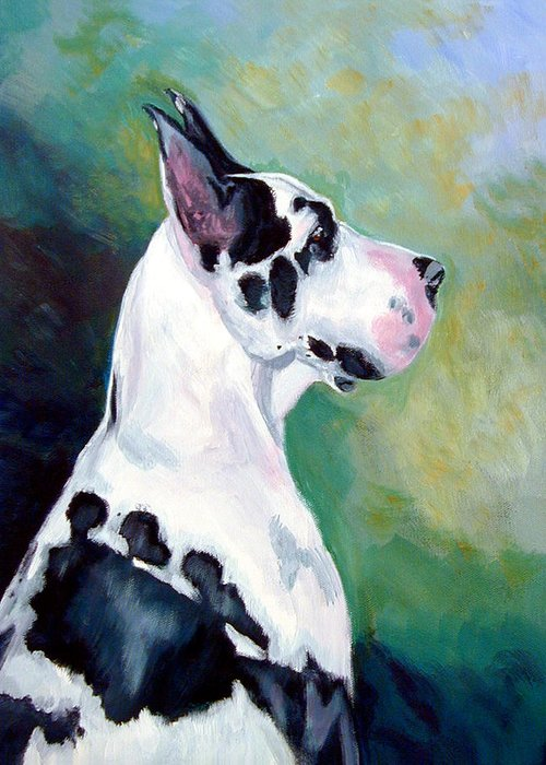 Great Dane Greeting Card featuring the painting Diva The Great Dane by Lyn Cook