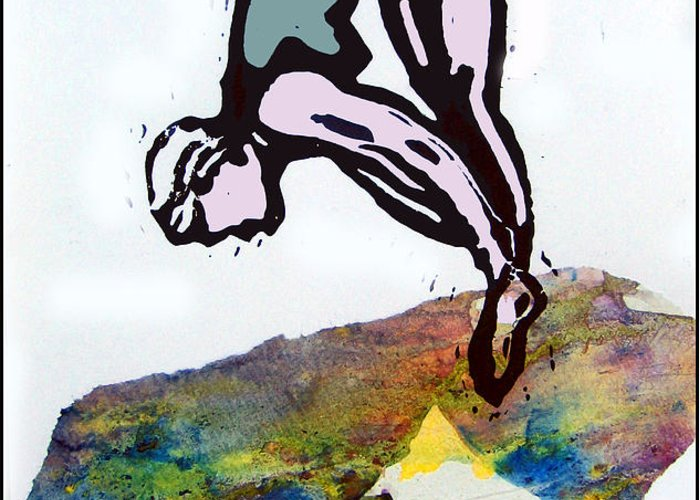 Lino Greeting Card featuring the mixed media Dive - Evening Pool by Adam Kissel