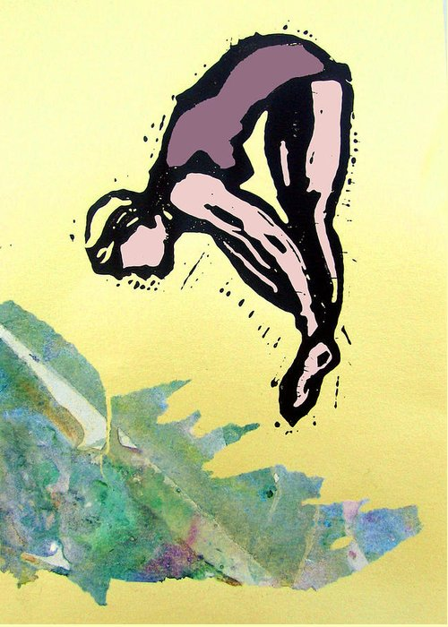 Lino Greeting Card featuring the mixed media Dive - Into Morning Waves by Adam Kissel