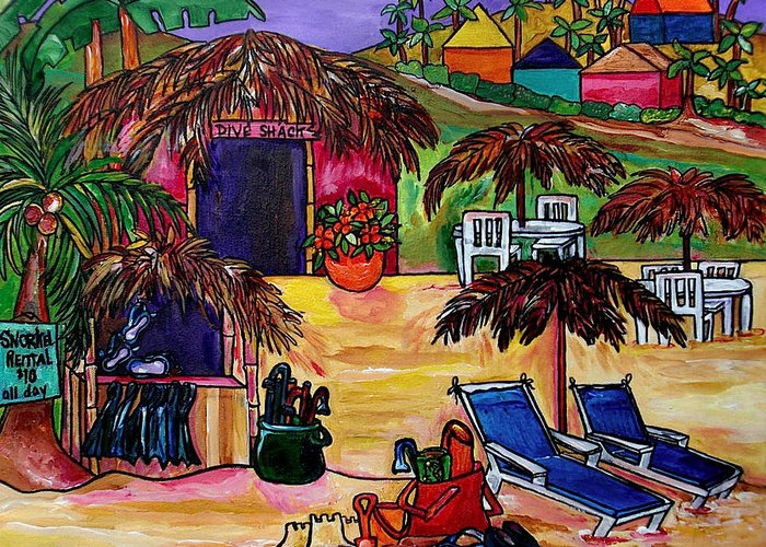 Caribbean Greeting Card featuring the painting Dive Shack by Patti Schermerhorn