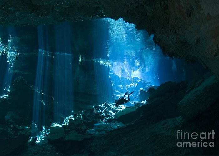Diver Greeting Card featuring the photograph Diver Enters The Cavern System N by Karen Doody