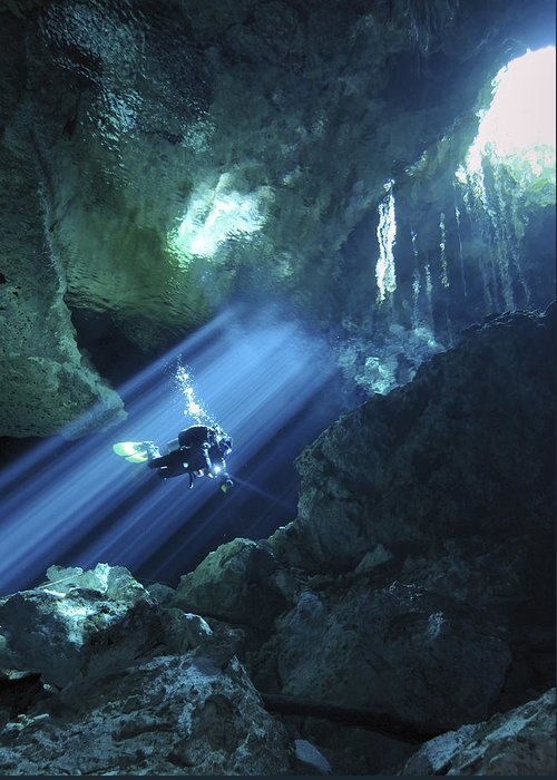 Blue Greeting Card featuring the photograph Diver Silhouetted In Sunrays Of Cenote by Karen Doody