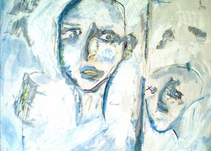 Portraits Greeting Card featuring the painting Divided by Kime Einhorn