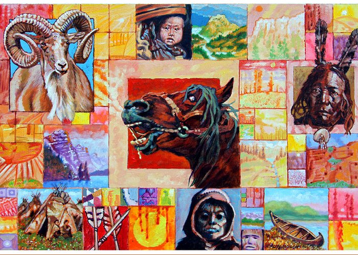 American Indian Greeting Card featuring the painting Divided Land - Crying Horse by John Lautermilch