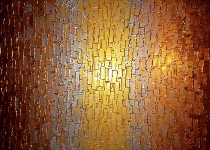 Abstract Gold Bronze Copper Silver Reflective Original Metallic Textured Contemporary Art Palette Knife Impasto Painting By Lafferty Paintings Greeting Card featuring the painting Divided Light by Daniel Lafferty