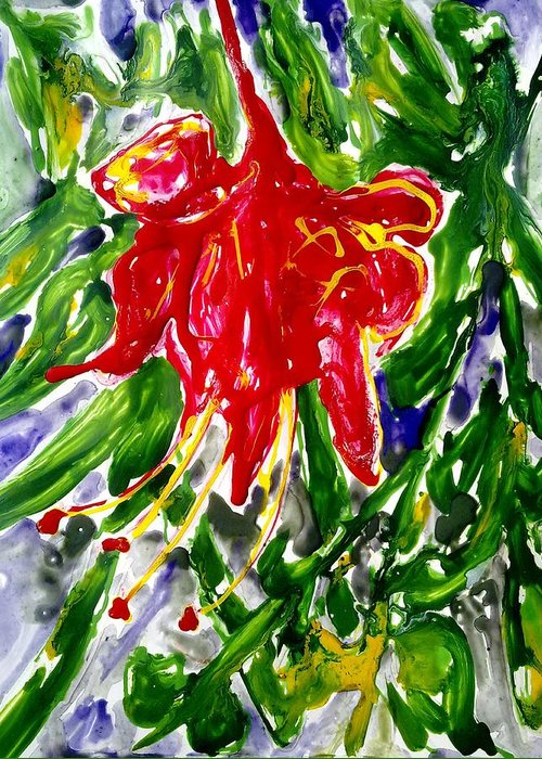 Abstract Flowers Greeting Card featuring the painting Divine Fllowers by Baljit Chadha