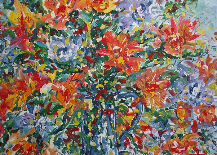 Painting Greeting Card featuring the painting Divine Happiness. by Leonard Holland