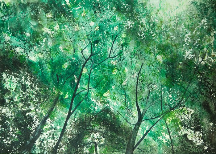 Trees Greeting Card featuring the painting Divine Light by Aymeric NOA