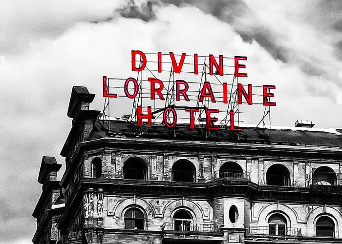 Divine Lorraine Hotel Marquee Greeting Card featuring the photograph Divine Lorraine Hotel Marquee by Bill Cannon