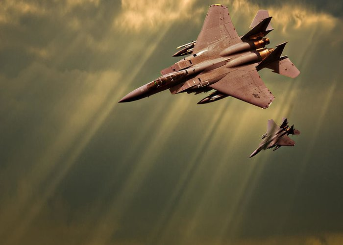 F-15. F-15 Eagle Greeting Card featuring the photograph Diving Eagles by Meirion Matthias