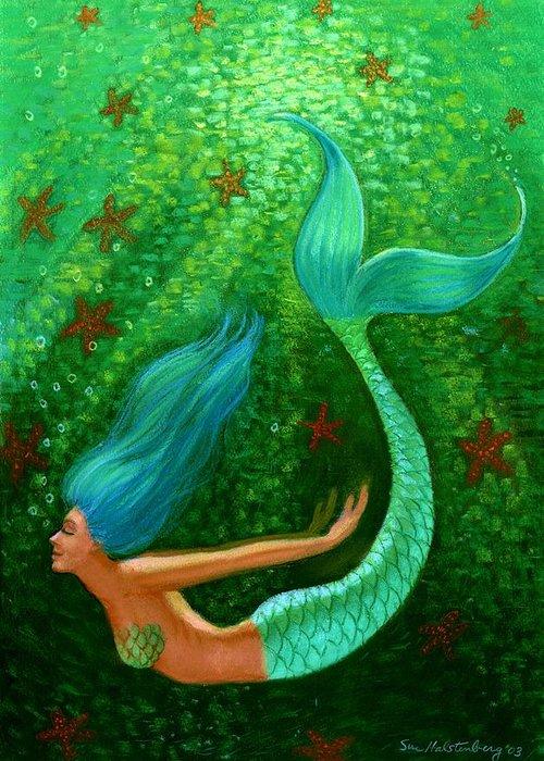 Mermaid Greeting Card featuring the painting Diving Mermaid Fantasy Art by Sue Halstenberg