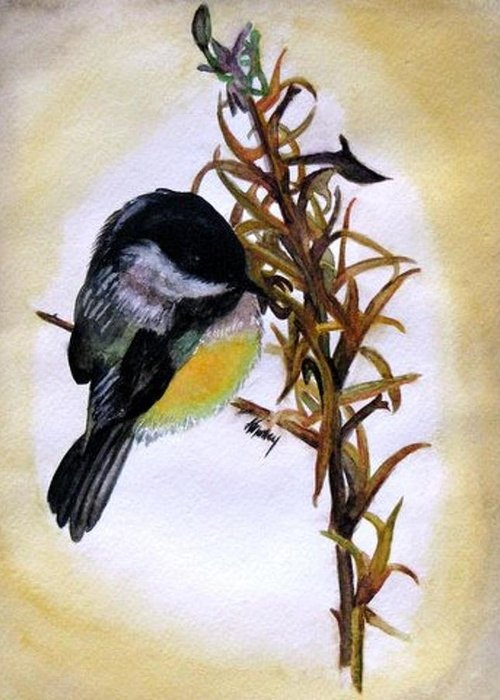 Chickadee Greeting Card featuring the painting Dixie Chick by Karla Mathey