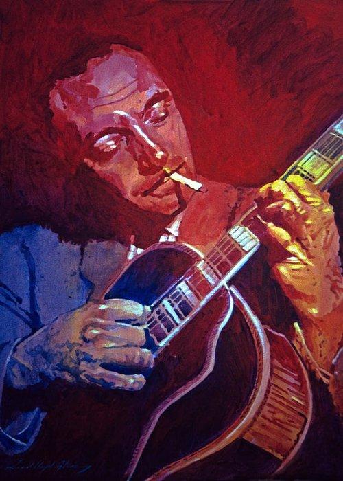 Django Greeting Card featuring the painting Django Sweet Lowdown by David Lloyd Glover