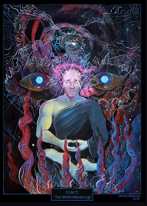 Steve Griffith Greeting Card featuring the painting Dmt - The Spirit Molecule by Steve Griffith