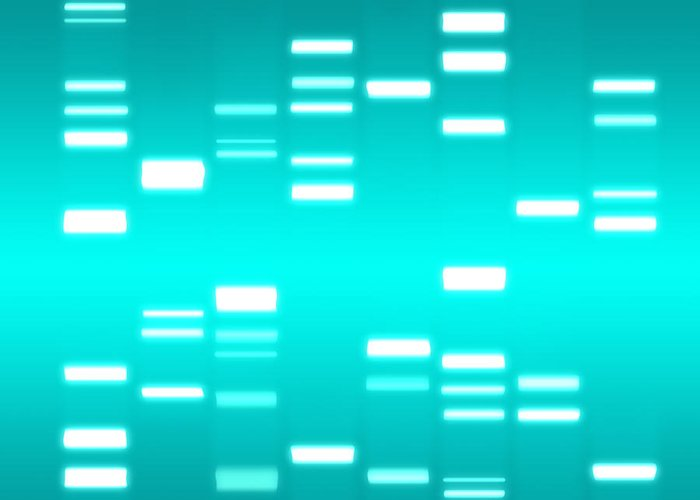 Dna Greeting Card featuring the digital art Dna Cyan by Michael Tompsett