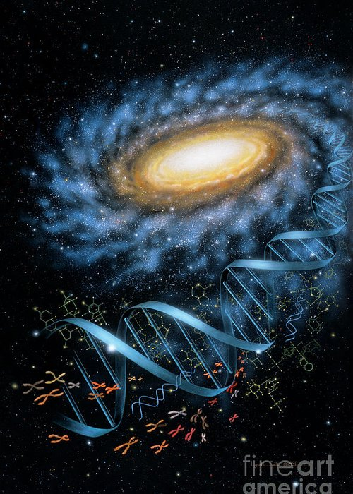 Lynette Cook Greeting Card featuring the painting Dna Galaxy by Lynette Cook