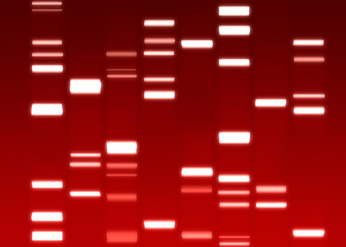 Dna Greeting Card featuring the digital art Dna Red by Michael Tompsett
