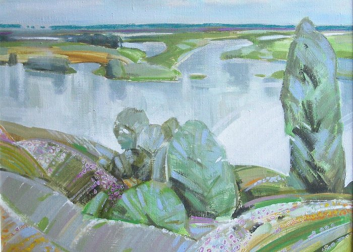 Landscape Greeting Card featuring the painting Dnepro River by Sergey Ignatenko