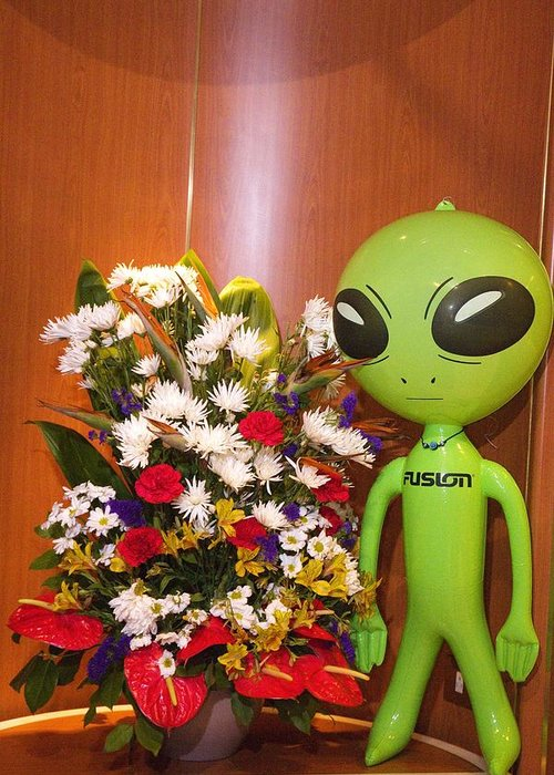 Alien Greeting Card featuring the photograph Do Aliens Get Hay Fever by Richard Henne