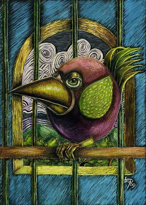 Birds Greeting Card featuring the mixed media Do Not Call Me Polly by Teresa Nolen Pratt