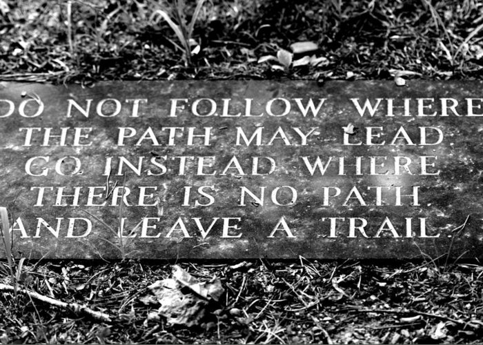 Do Not Follow Where The Path May Lead Greeting Card featuring the photograph Do Not Follow Where The Path May Lead by Susie Weaver