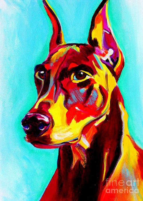 Dog Greeting Card featuring the painting Doberman - Prince by Alicia VanNoy Call