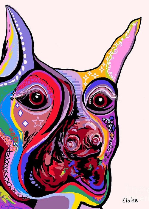 Doberman Greeting Card featuring the painting Doberman by Eloise Schneider