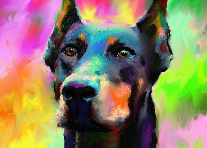 Doberman Portrait Greeting Card featuring the painting Doberman Pincher Dog Portrait by Svetlana Novikova