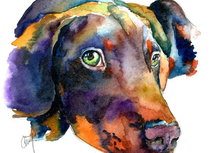 Doberman Greeting Card featuring the painting Doberman Watercolor by Christy Freeman Stark