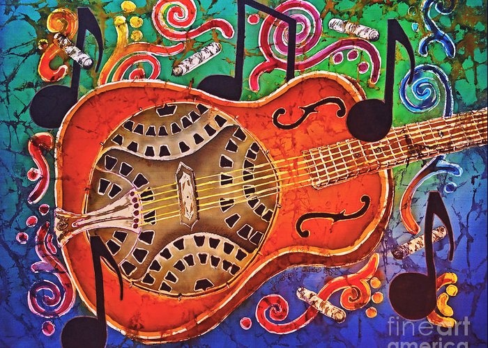 Dobro Greeting Card featuring the tapestry - textile Dobro - Slide Guitar by Sue Duda