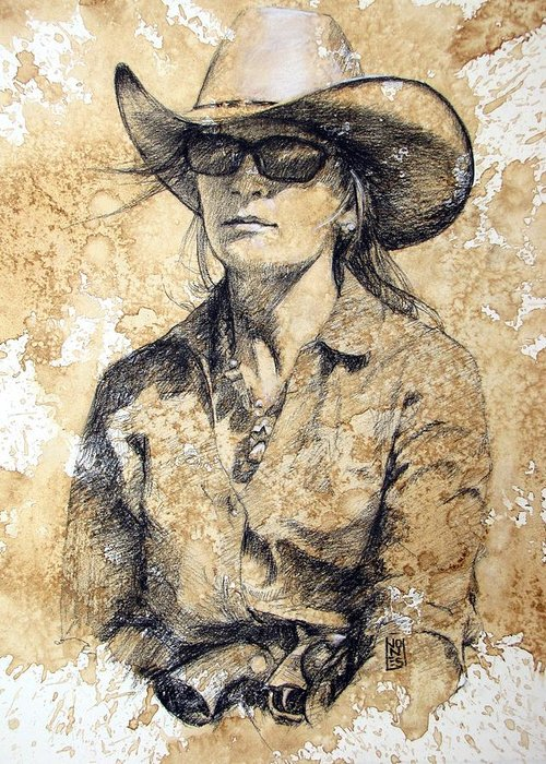 Cowgirl Greeting Card featuring the drawing Doc by Debra Jones
