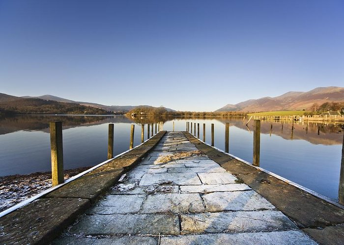 Color Greeting Card featuring the photograph Dock In A Lake, Cumbria, England by John Short