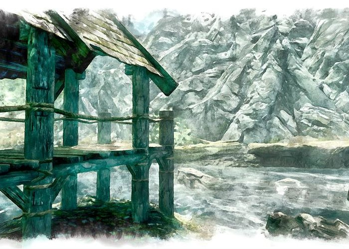 Stream Greeting Card featuring the digital art Dock by Marjan Mencin