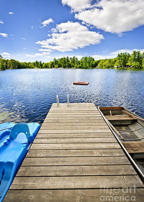 Dock Greeting Card featuring the photograph Dock On Lake In Summer Cottage Country by Elena Elisseeva