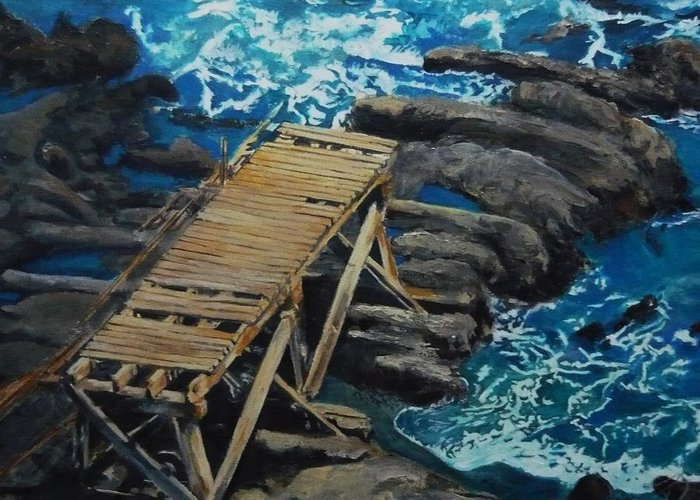 Dock Greeting Card featuring the painting Dock by Travis Day