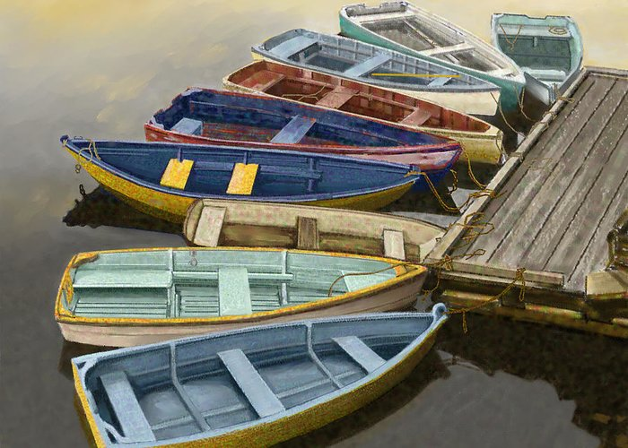 Canoe Greeting Card featuring the painting Dock With Colorful Boats by Dennis Orlando