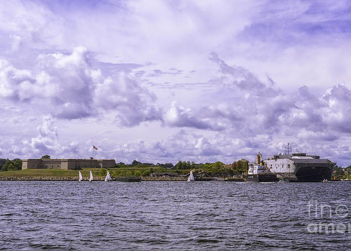 Amistad Greeting Card featuring the photograph Dockside At Fort Trumbull by Joe Geraci
