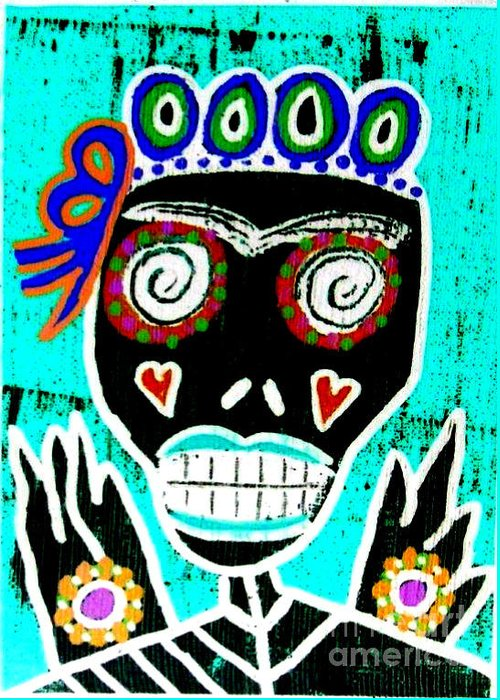 Greeting Card featuring the mixed media Dod Art 123yre by Sandra Silberzweig