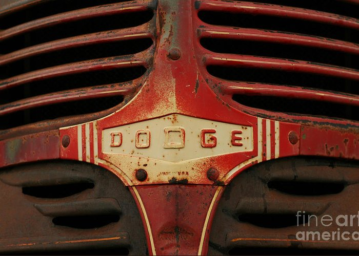 Truck Greeting Card featuring the photograph Dodge 41 Grill by Steve Augustin