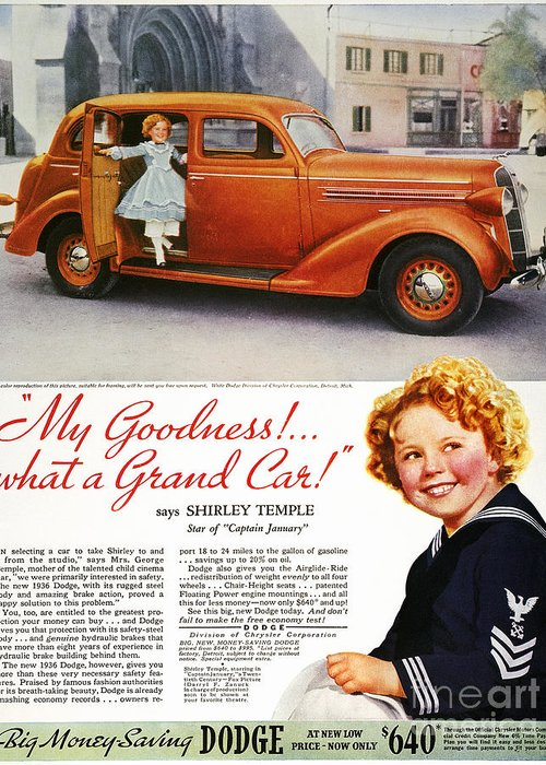 1936 Greeting Card featuring the photograph Dodge Automobile Ad, 1936 by Granger