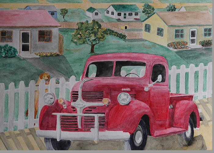Dodge Greeting Card featuring the painting Dodge by Gary Thomas