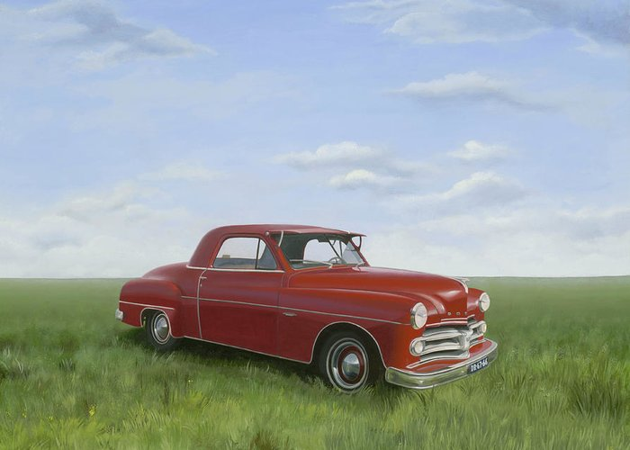 Classic Greeting Card featuring the painting Dodge by Patricia Van Lubeck