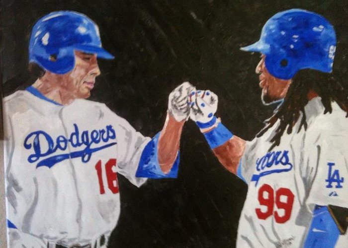 Baseball Greeting Card featuring the painting Dodgers Duo by Daryl Williams Jr