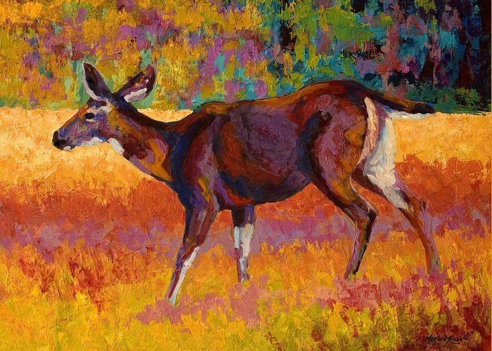 Deer Greeting Card featuring the painting Doe IIi by Marion Rose