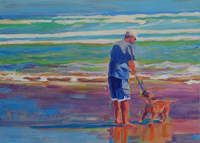 Dog At Play Greeting Card featuring the painting Dog Beach Play by Thomas Bertram POOLE