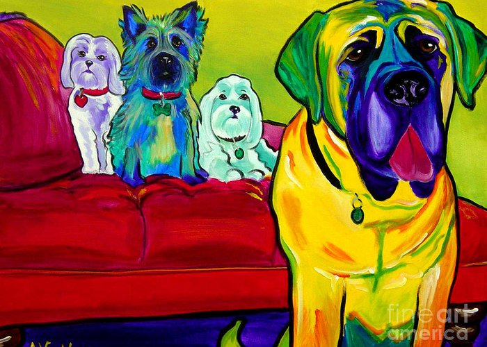 Dog Greeting Card featuring the painting Dogs - Droolers Get The Floor by Alicia VanNoy Call