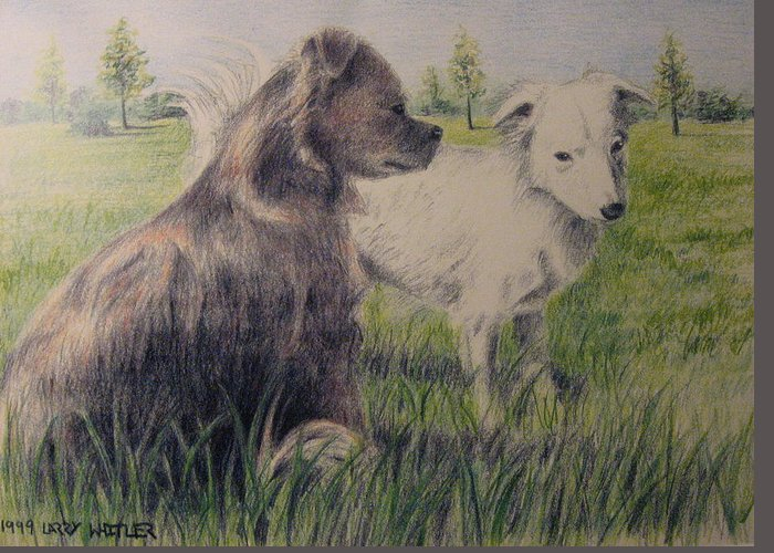 Dogs Greeting Card featuring the drawing Dogs In A Field by Larry Whitler