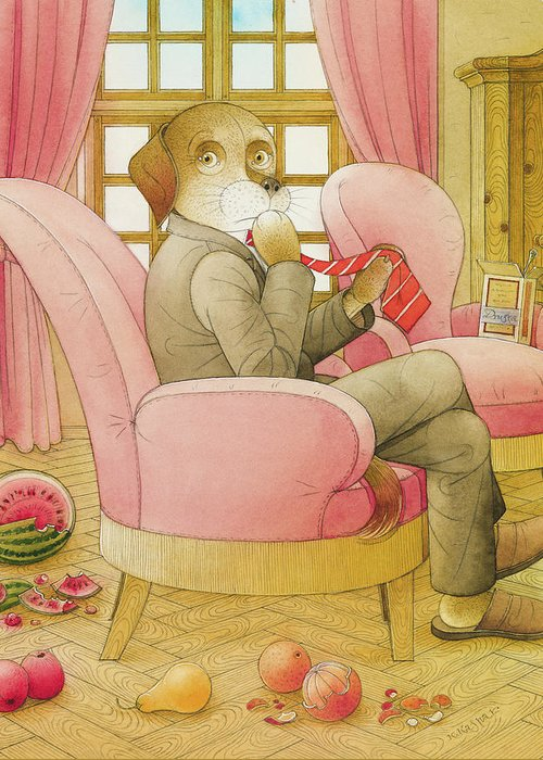 Dog Life Lifestyle Room Apartments Armchair Red Illustration Children Book Drawing Suit Greeting Card featuring the painting Dogs Life09 by Kestutis Kasparavicius