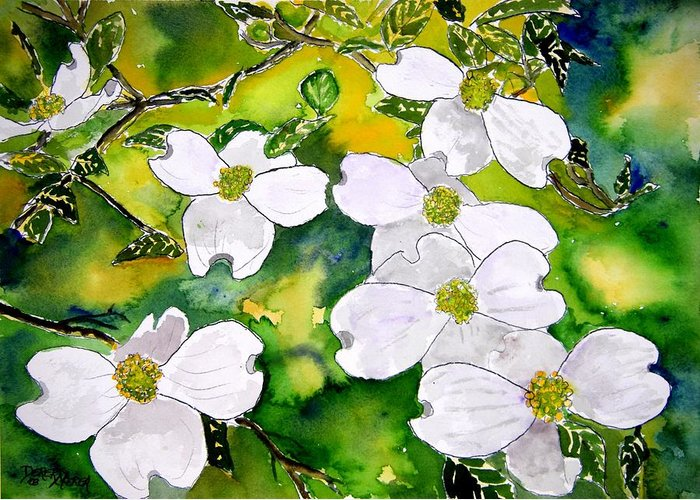 Dogwood Greeting Card featuring the painting Dogwood Tree Flowers by Derek Mccrea