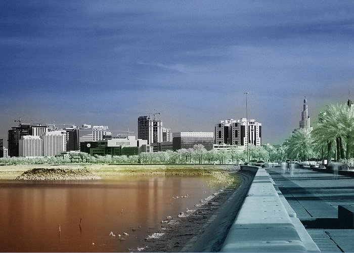 Doha Greeting Card featuring the photograph Doha Corniche In Infra-red by Paul Cowan